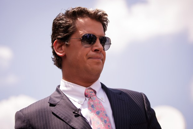 Milo Yiannopoulos, a conservative columnist and internet personality, holds a press conference down the street from the Pulse Nightclub, June 15, 2016 in Orlando, Florida.