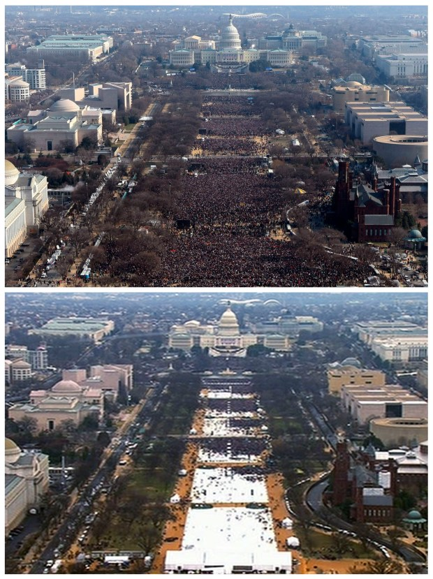 This pair of photos shows a view of the crowd on the National Mall at the inaugurations of President Barack Obama, above, on Jan. 20, 2009, and President Donald Trump, below last Friday. The photo above and the screengrab from video below were both shot shortly before noon from the top of the Washington Monument.