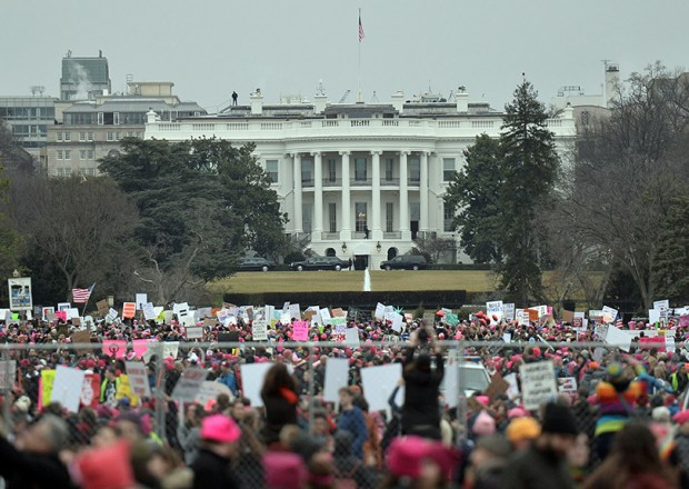 Demonstrators protest near the White House during the Women's March last Saturday.