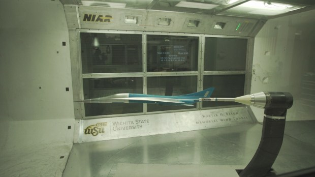 A model simulating the supersonic jet by Boom Technology gets the wind tunnel test.