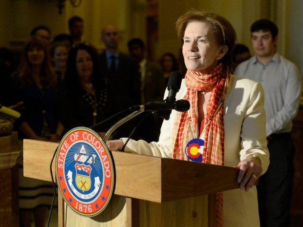 Donna Lynne after she was sworn in as the Lieutenant Governor of Colorado in a ceremony at the state Capitol in Denver on Thursday, May 12, 2016.