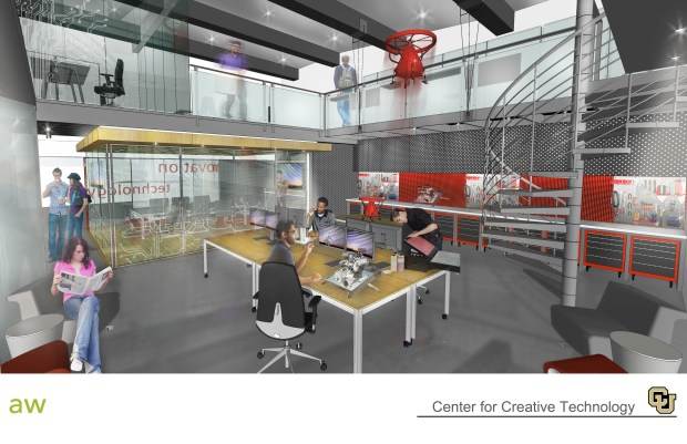 An artist rendering of the new Comcast Media and Technology Center at the University of Colorado, Denver. The CU Denver Center was started with a $5 million donation from Comcast.