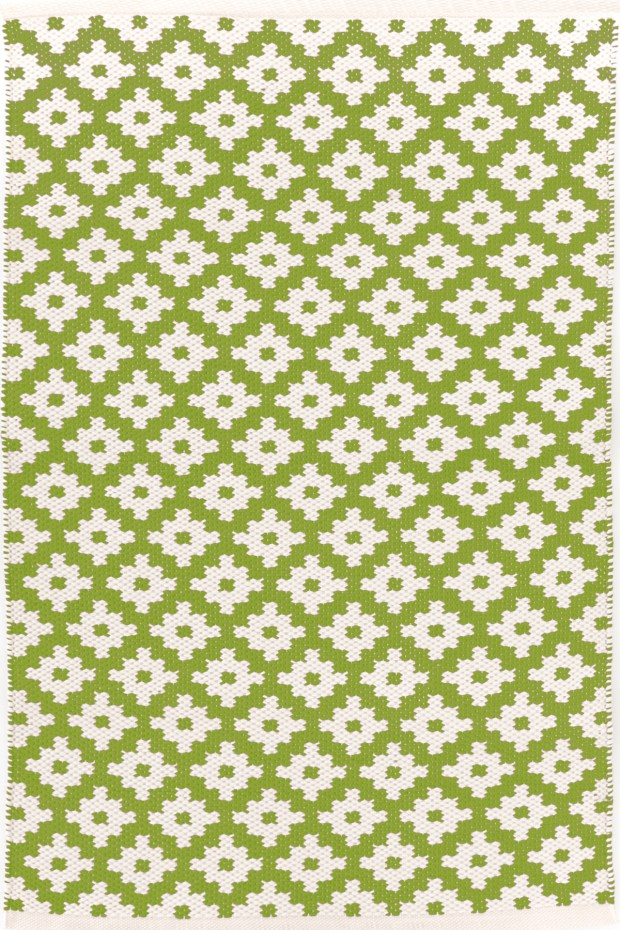 "Dash & Albert's Samode Indoor/Outdoor Rug pairs a vegetal green called ""Sprout"" with a warm ivory - and spills come out with a quick hose-down ($48-$672, dashandalbert.com)."