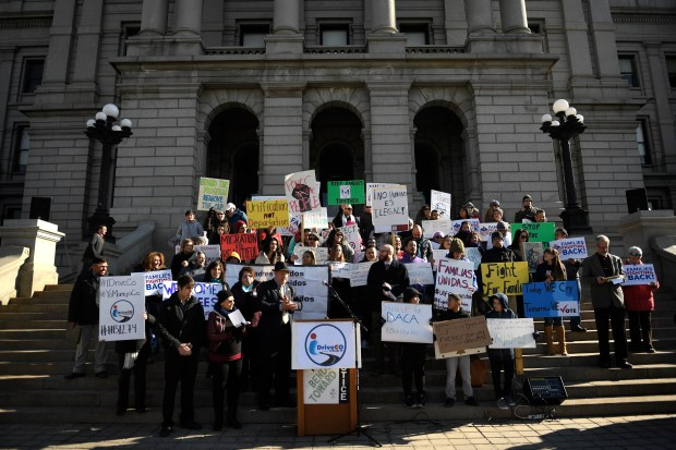 """I Drive Colorado held a rally on the west steps of the Capitol focusing on protecting access to driver's licenses for Colorado's """"DREAMers"""" January 25, 2017."""