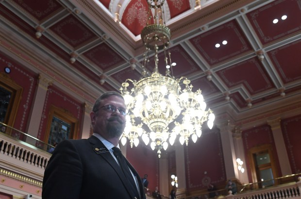 Senate President Kevin Grantham talks over his new role during the start of the 2017 session at the Colorado State Capitol, January 11, 2017.