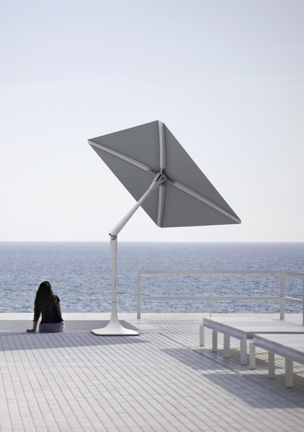The Sunflower umbrella from ShadeCraft is not just internet friendly, it also has built-in speakers, security camera, robotics and artificial intelligence.