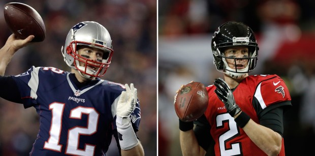 New England Patriots quarterback Tom Brady, left, and Atlanta Falcons QB Matt Ryan.