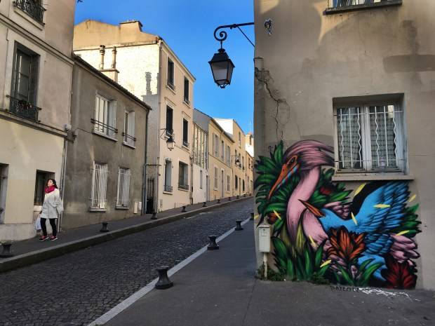 Rue Buot is a picturesque cobblestone lane in Butte-aux-Cailles. The Paris neighborhood is punctuated with colorful street art murals.