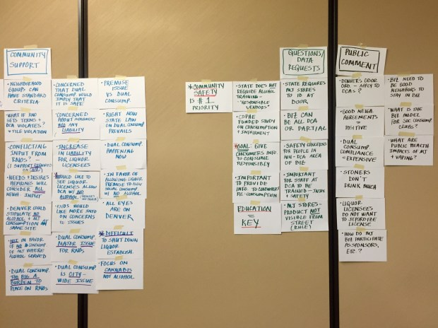 Wall notes at MJ committee