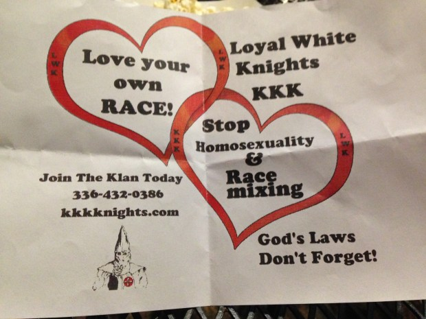 One of the KKK flyers left on someone's driveway in the Redlands, an area west of Grand Junction.