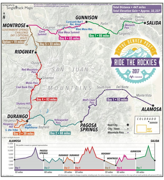 The route for the 2017 Ride the Rockies cycling tour in Colorado from June 11-17, 2017.