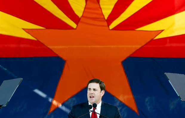 Arizona Gov. Doug Ducey speaks after being sworn in during inauguration ceremonies at the Arizona Capitol in Phoenix on Jan. 5, 2015.