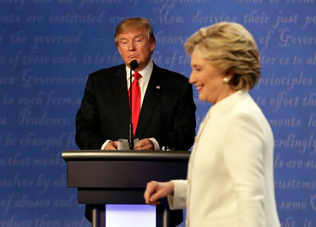 Donald Trump and Hillary Clinton appear at an Oct. 19, 2016, presidential debate in Las Vegas.