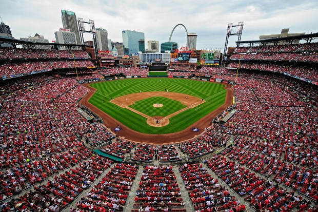 A general view of Busch Stadium ...
