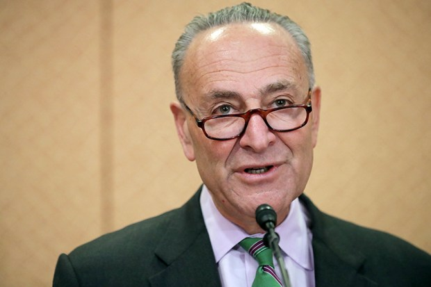 Senate Minority Leader Charles Schumer holds a news conference with people who claim to have been negatively impacted by the decisions of Supreme Court nominee Judge Neil Gorsuch on Wednesday in Washington.