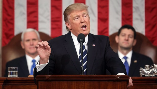 President Donald Trump delivers his first address to a joint session of Congress from the floor of the House of Representatives in Washington on Tuesday.