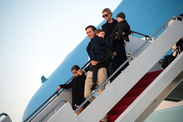 Senior White House adviser Jared Kushner and his wife Ivanka Trump step off Air Force One with their children at Andrews Air Force Base on March 5. The couple, along with Eric Trump, Donald Trump Jr. and their families spent their spring vacation in Aspen this month.