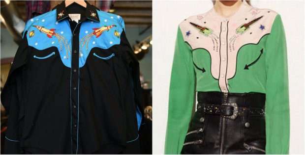 Rockmount's Atomic Cowboy shirt and the now sold-out Coach blouse are shown in this side-by-side comparison.