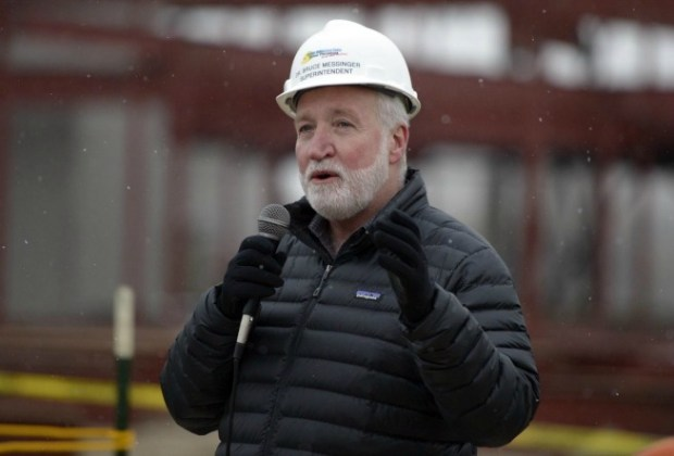 Boulder Valley Superintendent Bruce Messinger speaks during the topping off ceremony at Meadowlark School in Erie on Jan. 12.