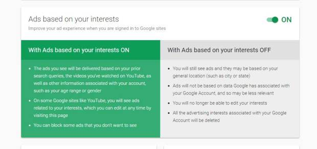 Opt in or out of Google's interest-based ads by  toggling the on/off button.