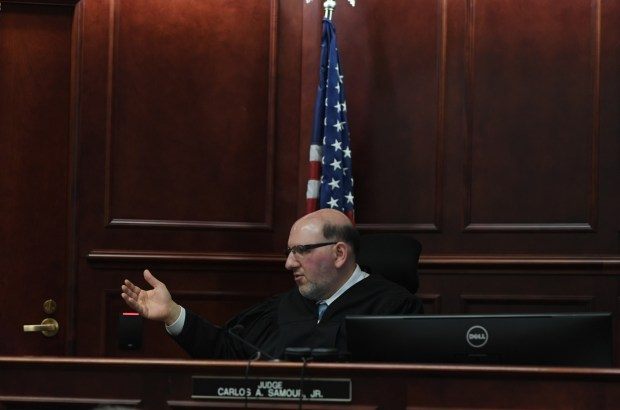 District Court Judge Carlos Samour Jr. address the court during the arraignment for Kevin Lyons in Arapahoe County, March 2, 2017.