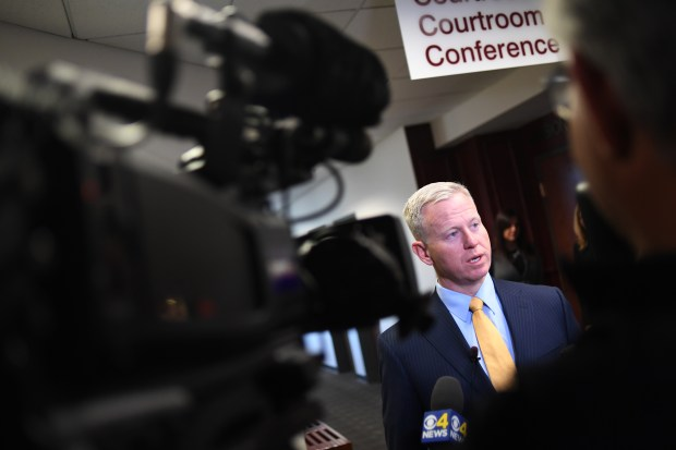 Arapahoe County District Attorney, George Brauchler speaks to the media after court for an arraignment, for Kevin Lyons, at District Court in Arapahoe County, March 2, 2017.