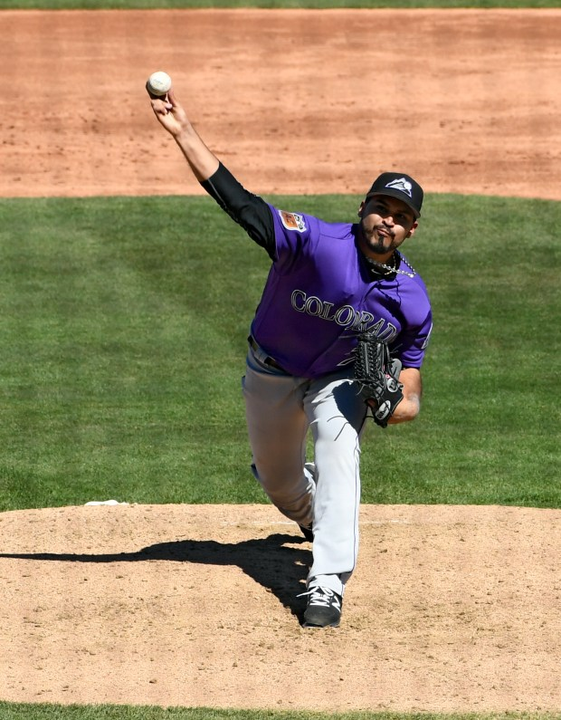 Antonio Senzatela pitches in the Cactus League for the Colorado Rockies at Salt River Fields.