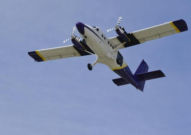 A twin engine Mile-Hi Skydiving plane takes off at Vance Brand Municipal Airport in Longmont in 2015.