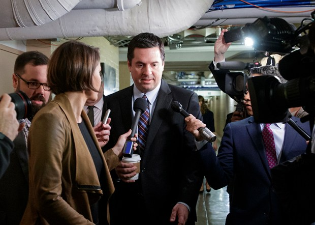 House Intelligence Committee Chairman Devin Nunes speaks to reporters on March 28 at the U.S. Capitol. Nunes is facing growing calls to step away from the committee's Russia investigation.