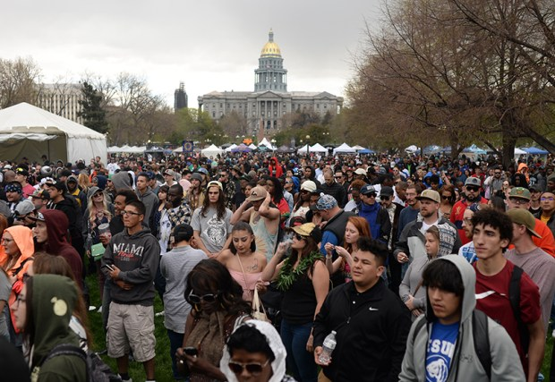 Marijuana enthusiasts celebrate during last week's 420 Rally in Denver's Civic Center.
