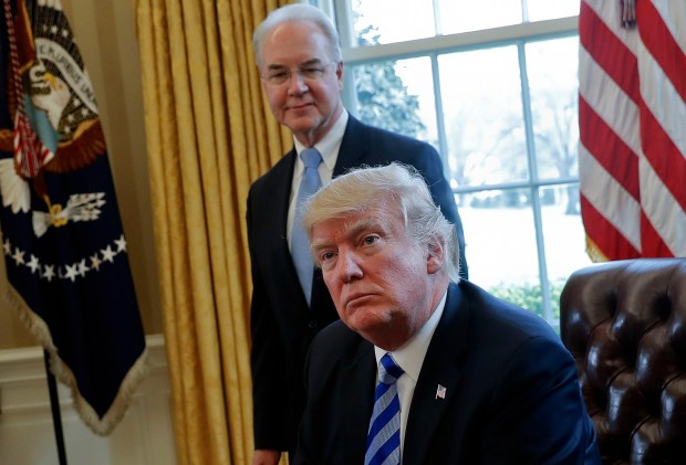 President Donald Trump, along with Health and Human Services Secretary Tom Price, speaks from the Oval Office on March 24, the day congressional Republicans pulled their bill that sought to repeal and replace the Affordable Care Act.