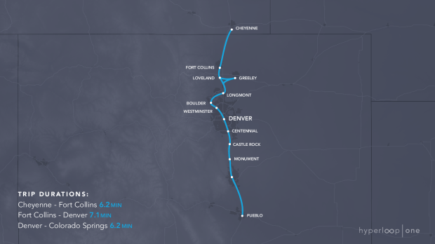 A 242-mile route that would connect Wyoming to Pueblo, proposed by the Colorado Hyperloop Team, would start with a Denver-to-Colorado Springs route coming in 6.2 minutes, versus 1 hour, 11 minutes by car.