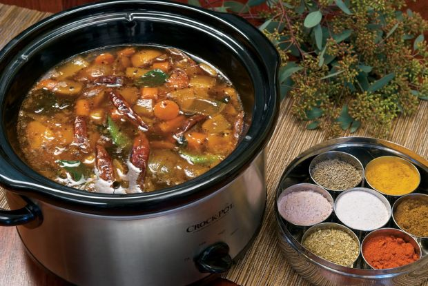 """South Indian Pigeon Peas and Vegetable StewSlow cooker size: 5-quart; cooking time: 11 hours on high. Makes 17 cups From """"The Indian Slow Cooker: 50 Healthy, Easy, Authentic Recipes,"""" by Anupy Singla."""