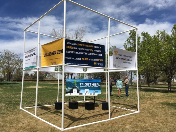 Students at the University of Northern Colorado and the school's resource conservation partner McKinstry display a 14-foot by 14-foot cube representing one-seventh of a metric ton of carbon dioxide as part of the school's week-long Earth Day celebration. On average, Americans produce 16 metric tons of carbon dioxide emissions each year.