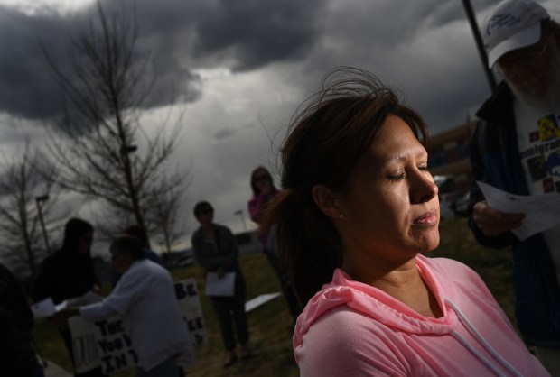 Ana Sauzameda, wife of Arturo Hernandez Garcia at a protest with others outside the ICE processing center on April 26, 2017 in Centennial.