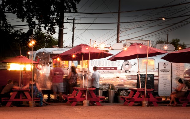 Gourdough's Airstream trailer sits along South First Street in Austin.