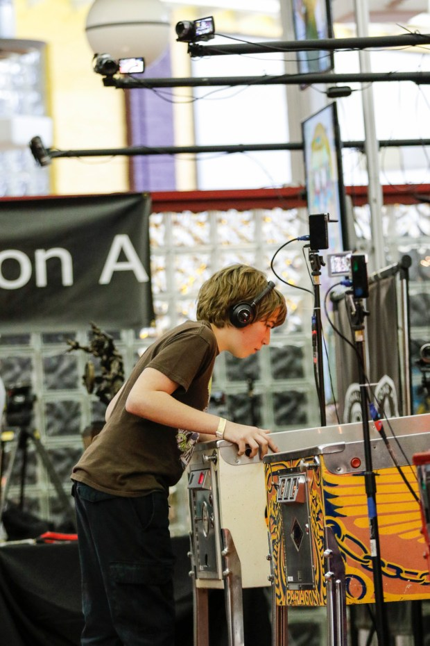 Escher Lefkoff plays Skateball at the PAPA 20 World Pinball Championships in Carnegie, Penn., on April 9.