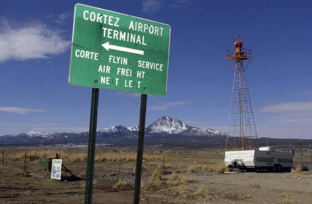 The sign for the Cortez Municipal Airport in southwest Colorado. Essential Air Service makes commercial flights to the small airfield in the Four Corners region possible.