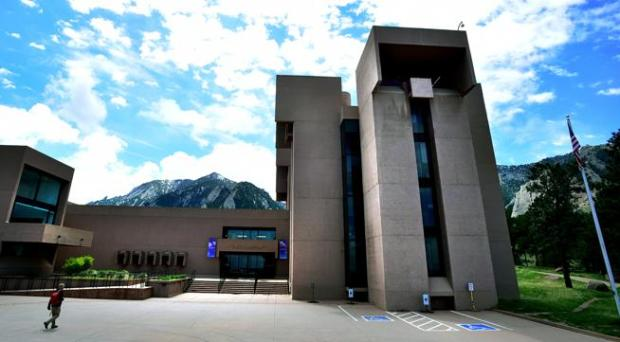 The National Center for Atmospheric Research's Mesa Laboratory is seen in front of Boulder's foothills on May 7, 2017.