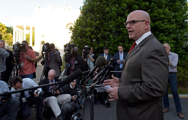 National Security Adviser H.R. McMaster speaks to the media outside the West Wing of the White House on Monday evening regarding President Donald Trump's meeting last week with Russian officials.