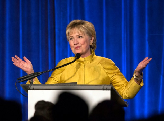 Former Secretary of State Hillary Clinton speaks on April 20 in New York. On Tuesday, Clinton attributed her defeat in the 2016 presidential election to interference by Russian hackers and FBI Director James Comey.
