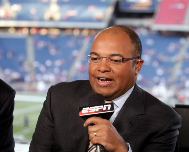 ESPN broadcaster Mike Tirico before an NFL game between the New England Patriots and the Buffalo Bills on Monday, Sept. 14, 2009.
