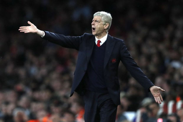 Arsenal's French manager Arsene Wenger gestures ...
