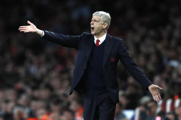 Arsenal's French manager Arsene Wenger gestures ...
