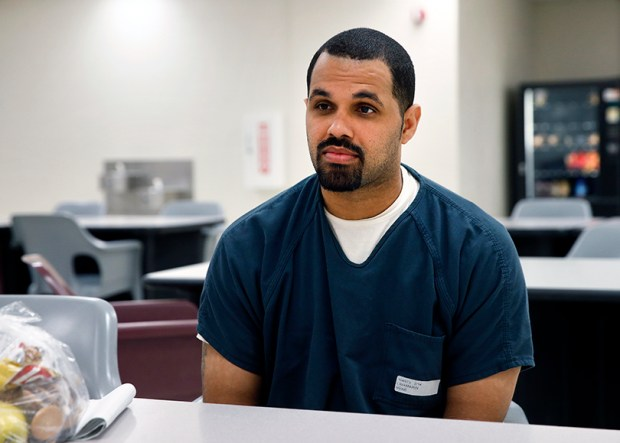 Rene Lima-Marin speaks during an interview at the Kit Carson Correctional Center on May 7, 2014, about being sent back to prison after being mistakenly released 90 years early. A judge ordered his re-release from prison this week.