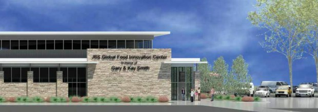 A rendering of the outside of the JBS Global Food Innovation Center.