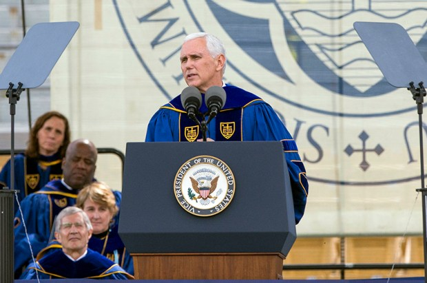 Vice President Mike Pence speaks during the Notre Dame commencement ceremony on Sunday in South Bend, Ind.