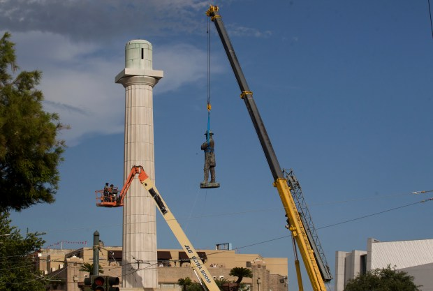 A statue of Confederate General Robert E. Lee is removed from Lee Circle in New Orleans on May 19.Lee's was the last of four monuments to Confederate-era figures to be removed under a 2015 New Orleans City Council vote on a proposal by Mayor Mitch Landrieu.