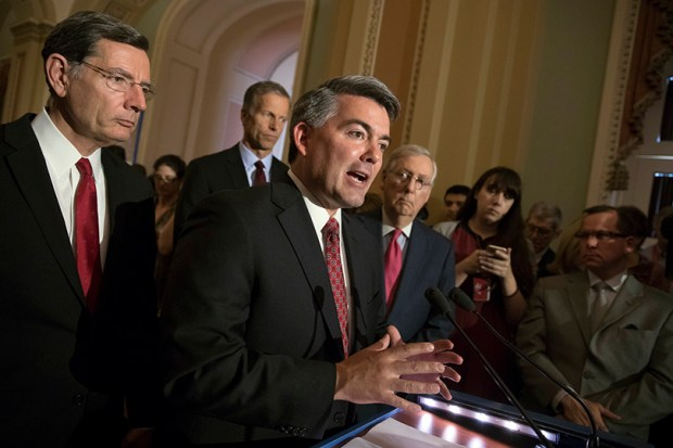 Sen. Cory Gardner, R-Colo., speaks during a May 16 press conference at the U.S. Capitol. The Senate will soon begin work on its version of a bill to repeal and replace the Affordable Care Act. The Congressional Office this week estimated that the House version will result in 23 million fewer Americans being insured.