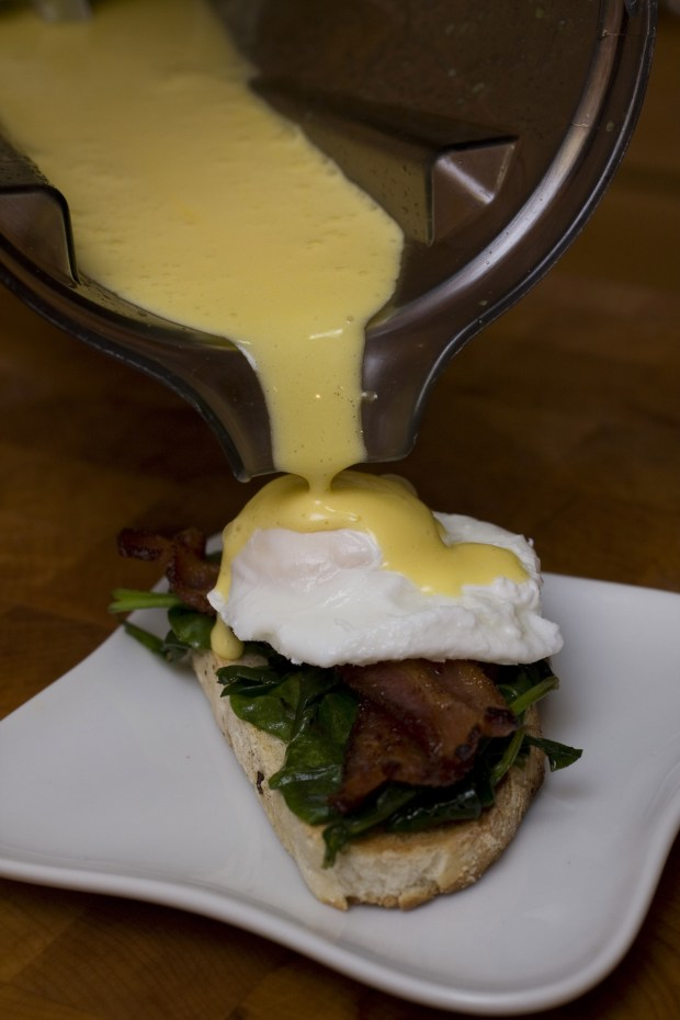 Hollandaise sauce poured ...